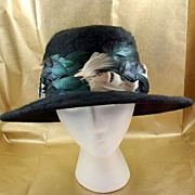 SALE Vintage 1960's Henry Margu Black Pheasant Feathers Hat