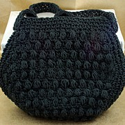 SALE Vintage Lerner Crocheted Black Purse Handbag Italy