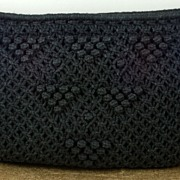 SALE Vintage Knit Crocheted Black MCI Purse Handbag Clutch