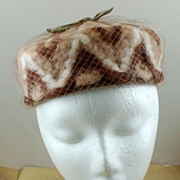SALE Vintage Brown Creamy White Wool Pillbox Pill Hat Netting