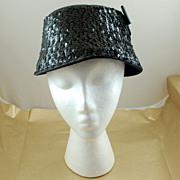 SALE Vintage Black Sequin Cloche Hat