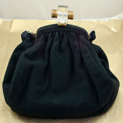 SALE Vintage Black Wool Purse Handbag