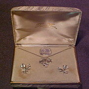 TruKay Sterling Floral Necklace and Earring Set with Rhinestones