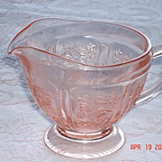1930's Rose of Sharon Pink Footed Creamer Depression Glass