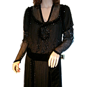 Antique Edwardian Black Beaded Lace Titantic Era Evening Gown, Museum Quality