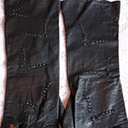 Vintage 1930's Elegant Black Leather Gloves with Glass Beads