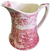 SOLD Alfred Meakin Pink/Red Transferware Pitcher Reverie Pattern