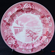 SOLD Wedgwood Pink Transferware Historical Plate Fort Ticonderoga Winter Scene