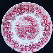 SOLD Alfred Meakin Staffordshire Pink Transferware 'Romance' Plate