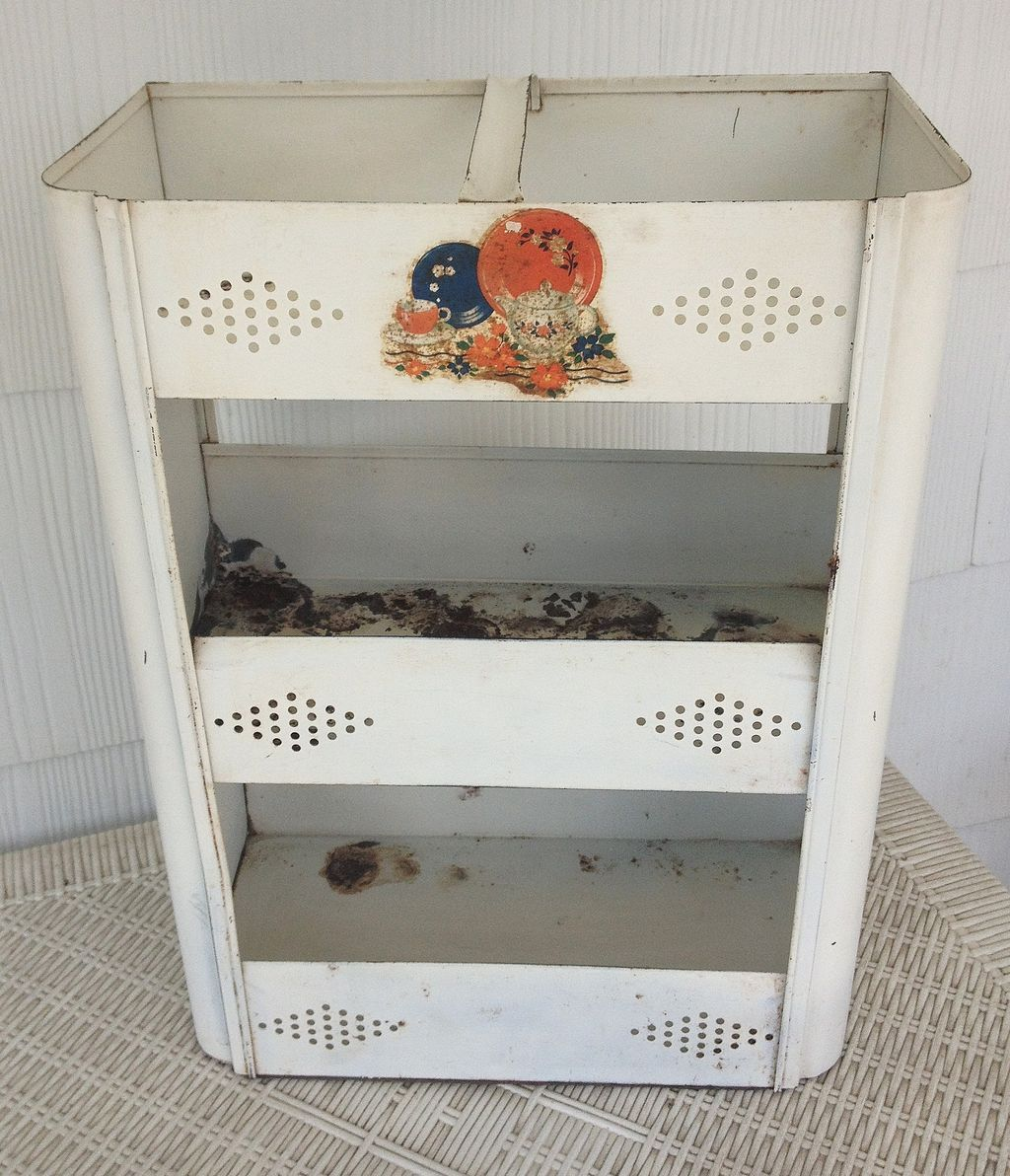vintage metal kitchen vegetable storage bin from rubylane