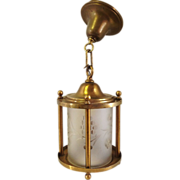 SOLD Classic Cylindrical Brass Hall or Entry Fixture