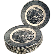SOLD Currier & Ives Set of 8 Dinner Plates by Royal China