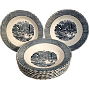 SOLD Currier & Ives Set of 8 Flat Rim Soup Bowls by Royal China