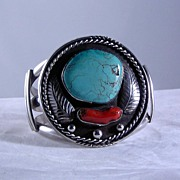 Navajo Sterling Turquoise and Coral Bracelet ca 1970's