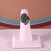 Navajo Sterling and Malachite Ring ca 1970's
