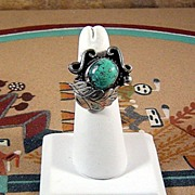 SALE Navajo Sterling and Turquoise Ring ca 1970's