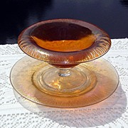 Amber Iridescent Stretch Glass Compote with Matching Plate ca 1900-1920