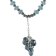 Iced Blue Brazilian Topaz and Sterling Necklace