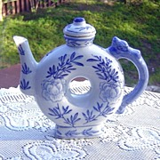 Blue and White Chinese Donut Shaped Teapot