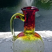 Amberina Pitcher with Embossed Eagle by Kanawha ca 1976