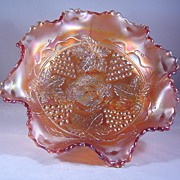 Fenton Grape and Cable Bowl in a Lovely Pastel Marigold ca early 1900's
