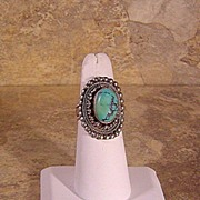 Persian Turquoise and Sterling Ring