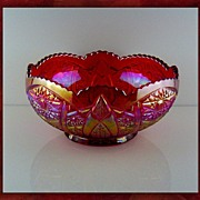 """SALE Indiana Glass Heritage 8"""" Carnival Bowl Red/Sunset"""