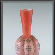 Thomas Webb & Sons Pink Basket Weave Coralene Vase ca 1920's