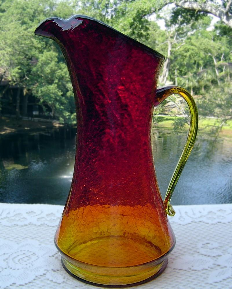 Elegant Amberina Hand Blown Crackle Glass Pitcher