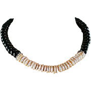 Shimmering Freshwater Cultured Pearls and Black Onyx Necklace