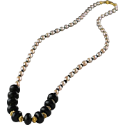 Natural Black Onyx/Pink Pearl and Mystic Quartz Necklace With Gold Vermeil