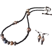 Strength Meets Culture With Hematite And Freshwater Pearls Necklace And Earring Set