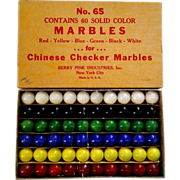 SALE Berry Pink Chinese Checker Marbles Orig Box 60 Pcs Marble King