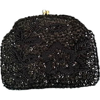 SALE Richere by Walborg Clutch Black Beaded Sequined w/ optional Gold Tone Chain Handle