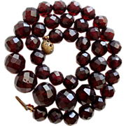 SALE Faceted Cherry Amber Graduated Bead Necklace 12 mm – 8mm