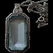 SALE Lg Faux Aquamarine in Filigree Pendant Necklace Fancy Chain Rhodium Art Deco Era