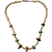 SALE Turquoise Nuggets & Puka Shell Necklace
