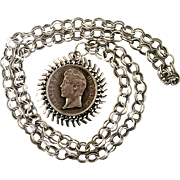 SALE Faux French Coin Pendant Necklace Mod Chunky Chain Retro Hippie Vintage Silvertone