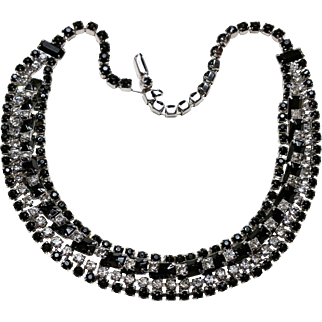 Kramer of New York Jet Angle set Baguette and Clear Rhinestone Necklace