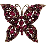 SALE Fuchsia Amethyst Rhinestone Butterfly Pin Vintage Darkened Goldtone Finish