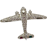 SALE Trifari Alfred Philippe WWII Era Dual Prop Airplane Pin Articulated Propellers Pave Rhine