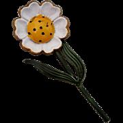 SALE Original by Robert Flower Power Pin White Daisy Polka Dot Yellow Center Brooch