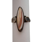 SALE Ladies Ring Southwest Style Pink MOP Mother of Pearl Sterling Size 6
