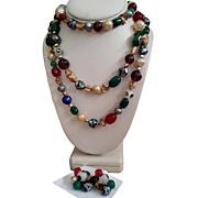 SALE Hattie Carnegie Flapper Bead Necklace ER Set Foiled Art Glass Millifiori