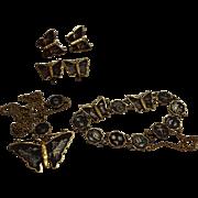 SALE Japanese Damascene Butterfly Parure Necklace Bracelet Earrings Cufflinks 24K SS