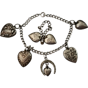 SALE Puffy Heart Charm Bracelet and Puffy Hearts Ring on Chain 1940s