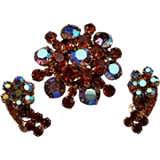SALE Juliana DeLizza and Elster Pin ER Set D&E Deep Amber and Blue AB Rhinestones
