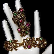 SALE Coro Bracelet ER Set Uranium Green Rhinestones