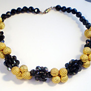 Dramatic Black and Gold Tone Choker Length Necklace