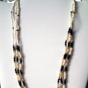 Rice Pearl and Onyx Beads – Three Strand